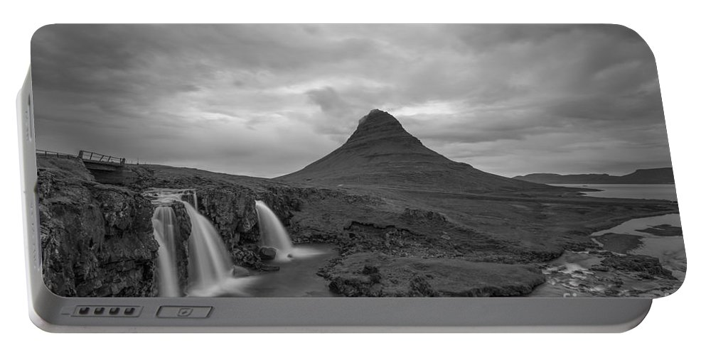 Kirkjufellsfoss Portable Battery Charger featuring the photograph Calm Before The Storm At Kirkjufell Bw by Michael Ver Sprill