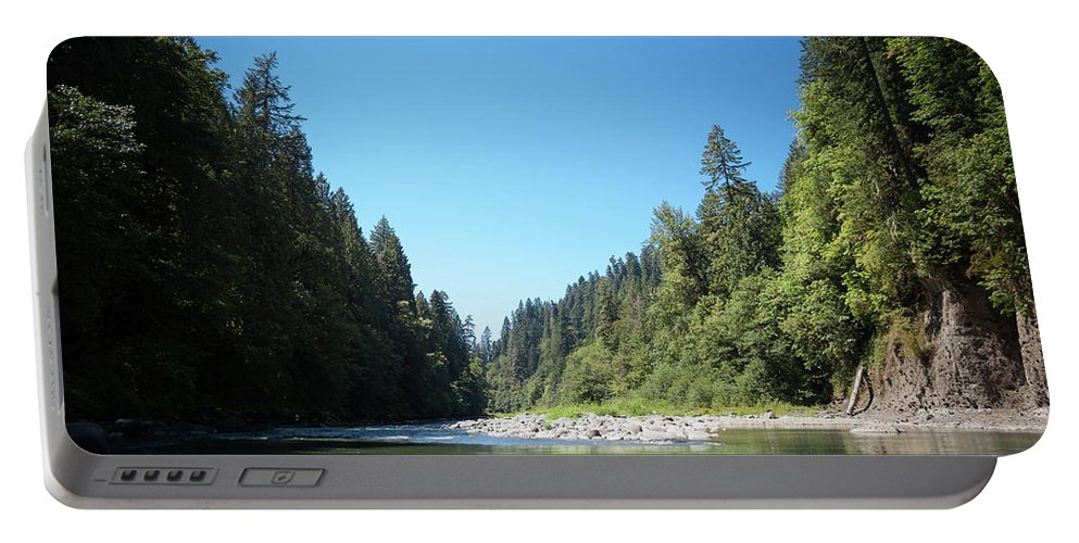 Forest Portable Battery Charger featuring the photograph Calm Sandy River In Sandy, Oregon by Bradley Hebdon