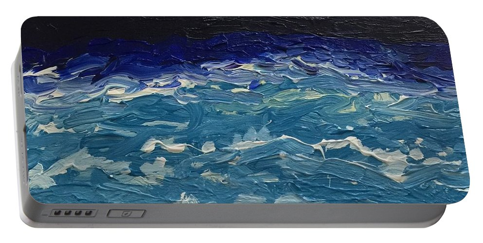 Portable Battery Charger featuring the painting Calm Sea by Lisa Porter