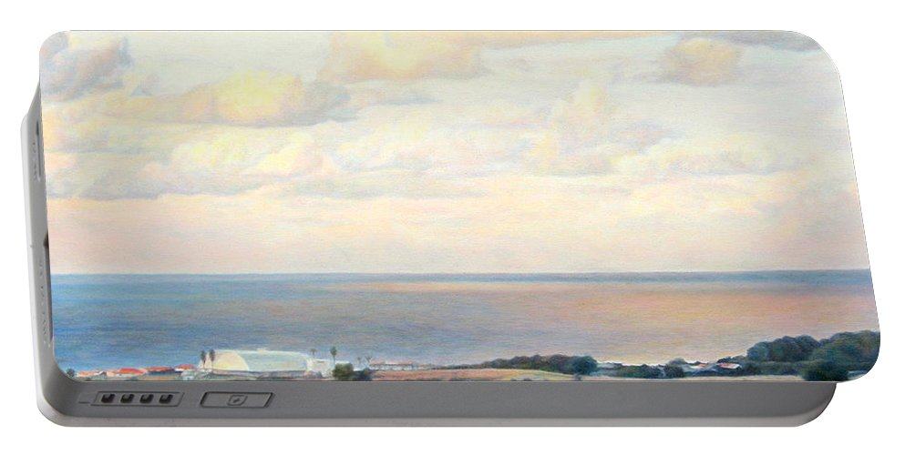 Beach Portable Battery Charger featuring the painting Calm Sea... View From My Balkon by Maya Bukhina