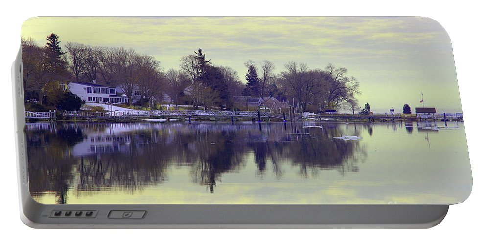 Coastal Portable Battery Charger featuring the photograph Calming Lavendar Scene by Karol Livote