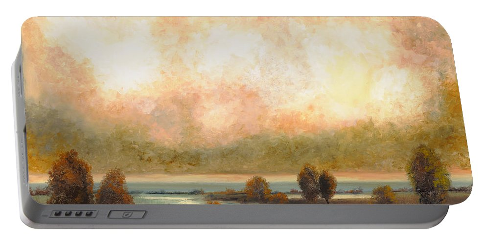 Pond Portable Battery Charger featuring the painting Calor Bianco by Guido Borelli