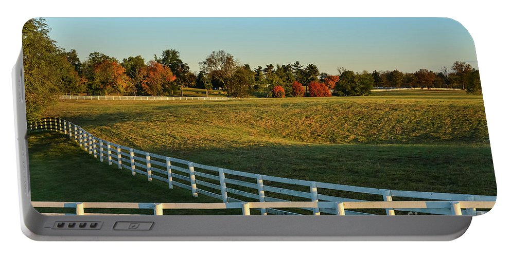 Lexington Portable Battery Charger featuring the photograph Calumet Fencing by Bob Phillips
