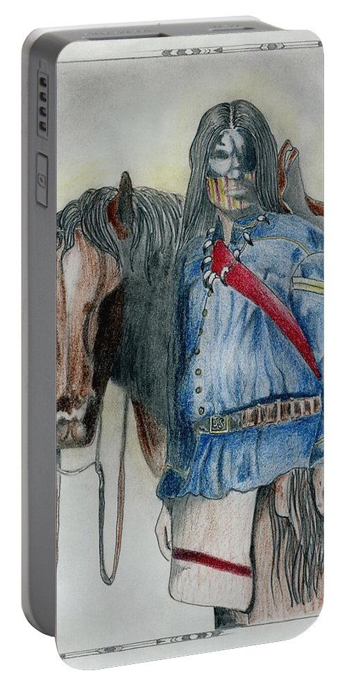 American Portable Battery Charger featuring the drawing Calvary Scout by Jimmy Smith
