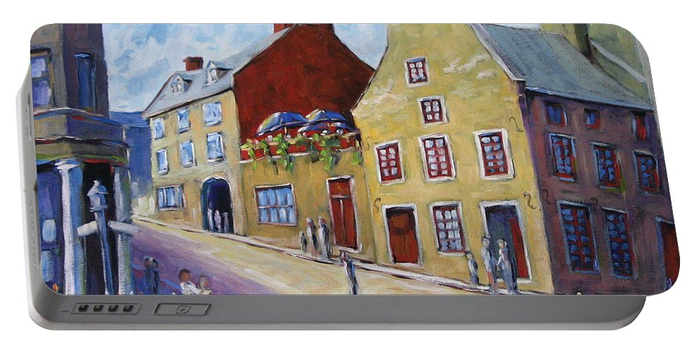 Rural Portable Battery Charger featuring the painting Calvet House Old Montreal by Richard T Pranke