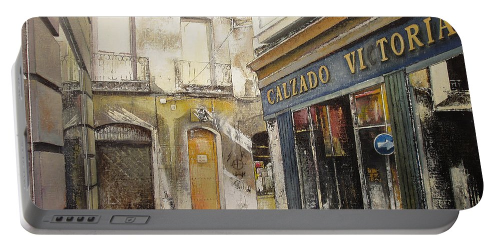 Calzados Portable Battery Charger featuring the painting Calzados Victoria-leon by Tomas Castano