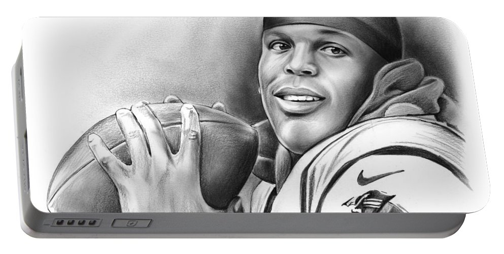 Cam Newton Portable Battery Charger featuring the drawing Cam Newton by Greg Joens
