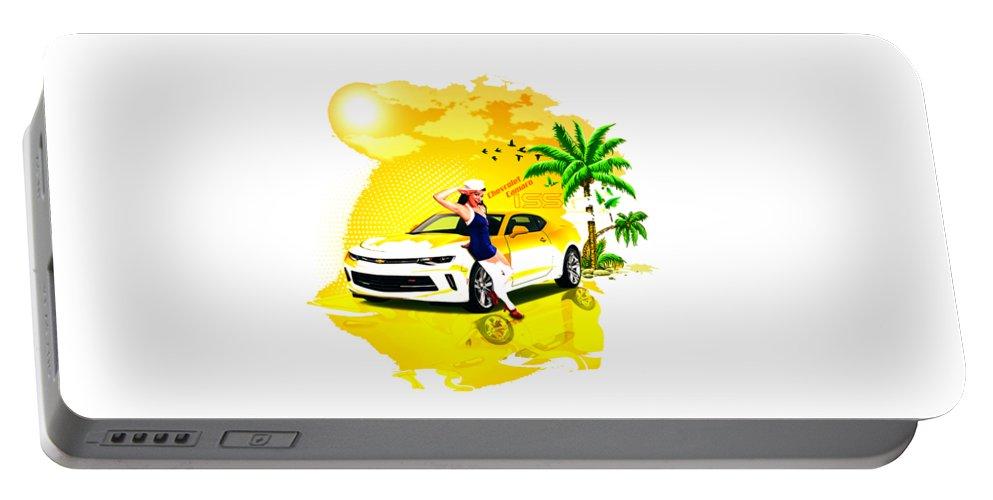 Camaro Portable Battery Charger featuring the digital art Camaro by Hannah Dori