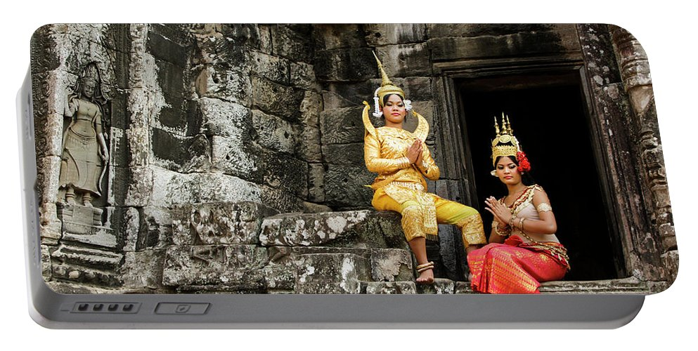 Asia Portable Battery Charger featuring the photograph Cambodian Dancers At Angkor Thom by Michele Burgess