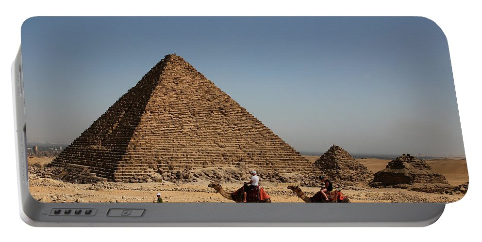 Camels Portable Battery Charger featuring the photograph Camel Ride At The Pyramids by Donna Corless