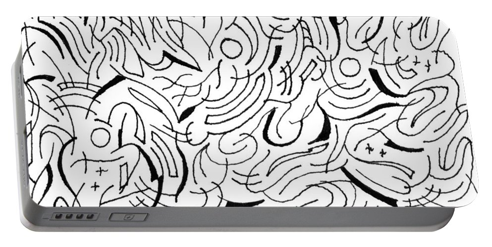 Mazes Portable Battery Charger featuring the drawing Cameron by Steven Natanson