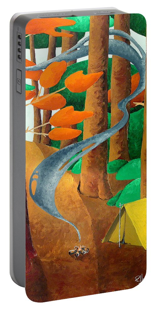 Landscape Portable Battery Charger featuring the painting Camping - Through The Forest Series by Richard Hoedl