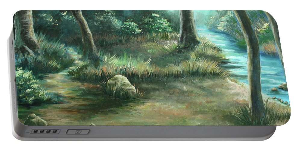 Landscape Portable Battery Charger featuring the painting Camping At Figueroa Mountains by Jennifer McDuffie