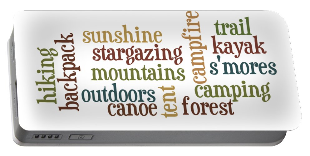 Camping Portable Battery Charger featuring the digital art Camping Subway Art by Heather Applegate