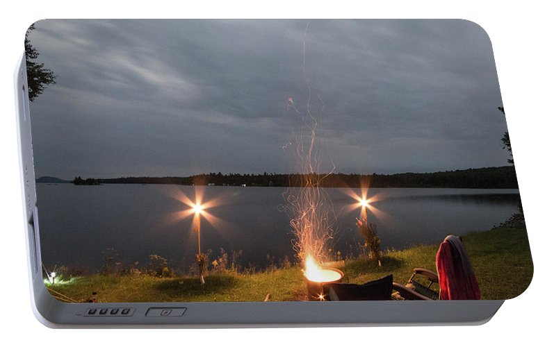 Camping Portable Battery Charger featuring the photograph Campsite Lakeside by Justin Mountain