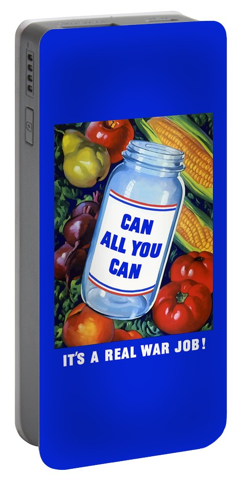 Canned Food Portable Battery Charger featuring the painting Can All You Can -- Ww2 by War Is Hell Store