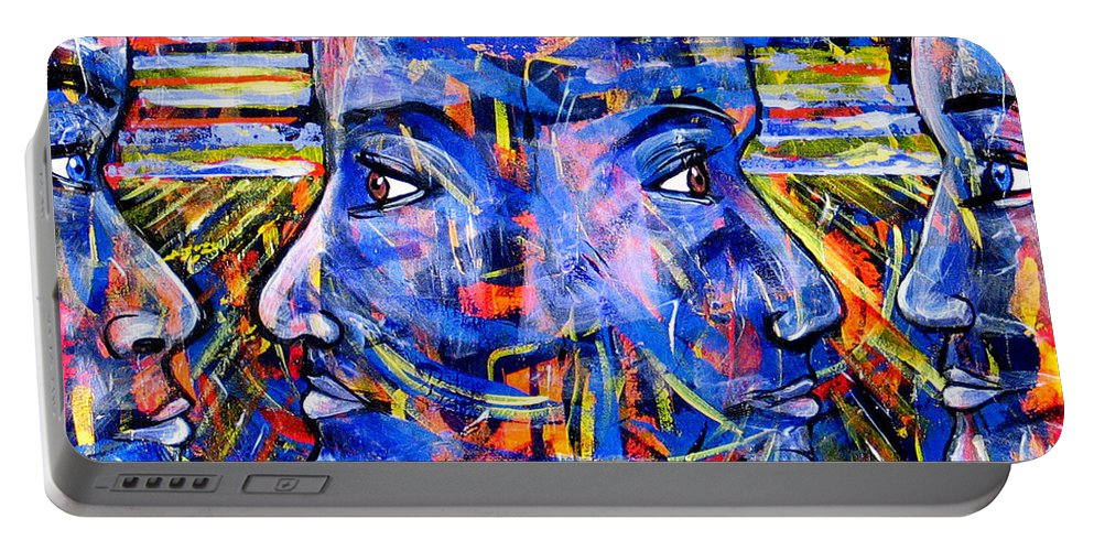 Confrontation Portable Battery Charger featuring the painting Can Not Live A Lie by Rollin Kocsis