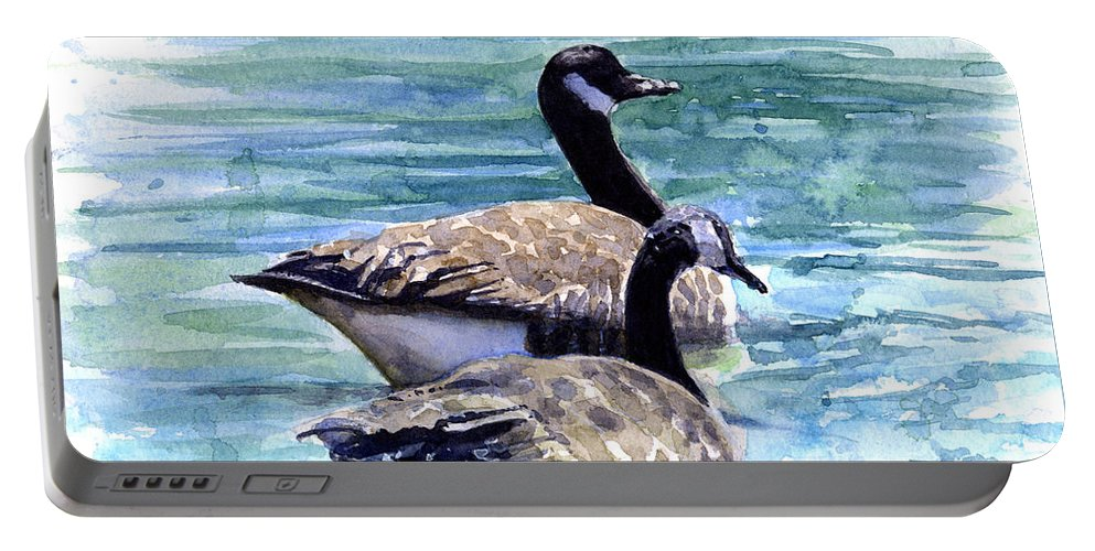 Canada Portable Battery Charger featuring the painting Canada Geese by John D Benson
