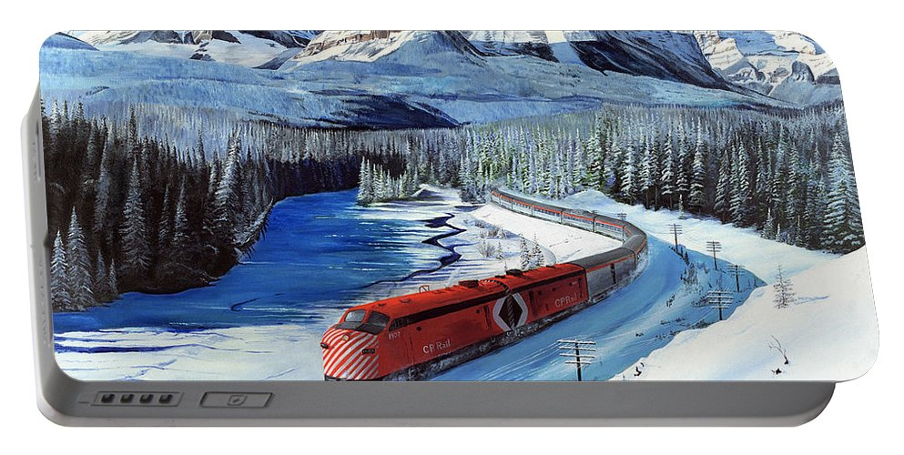 Canadian Pacific Portable Battery Charger featuring the painting Canadian At Morant's Curve by Glen Frear