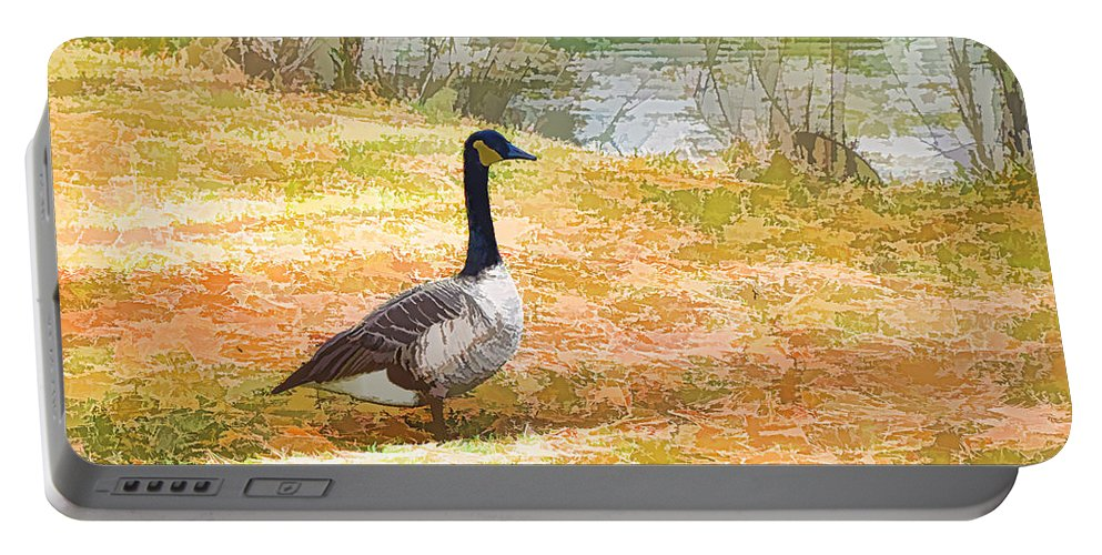 Canadian Geese Portable Battery Charger featuring the painting Canadian Geese 6 by Jeelan Clark