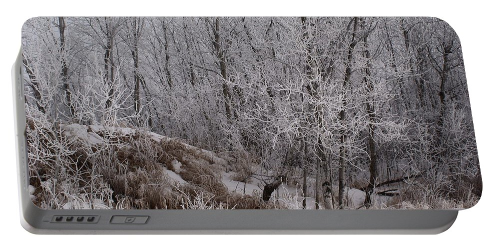 Canadian Ice Fog Portable Battery Charger featuring the photograph Canadian Ice Fog by Joanne Smoley