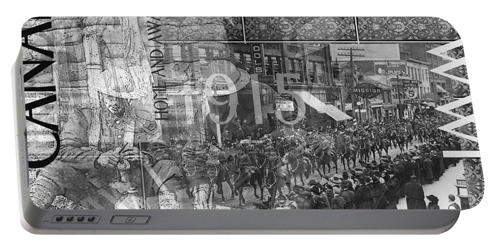 Wwi.collage Portable Battery Charger featuring the photograph Canadian Wwi Nostalgic Collage by Ruth Palmer