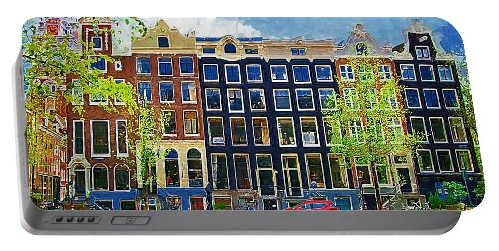 Amstersdam Portable Battery Charger featuring the photograph Canal Houses by Tom Reynen