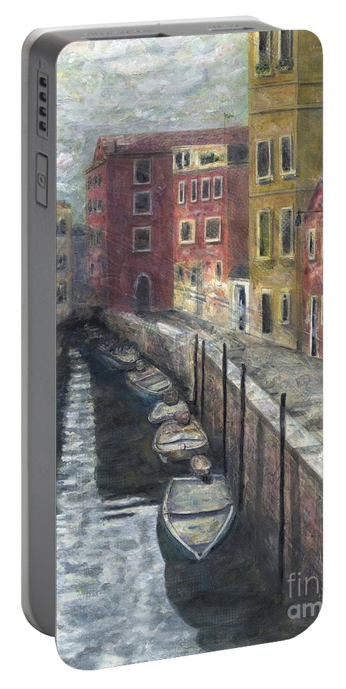 Venice Portable Battery Charger featuring the painting Canal In Venice by Karla Kaizoji Austin