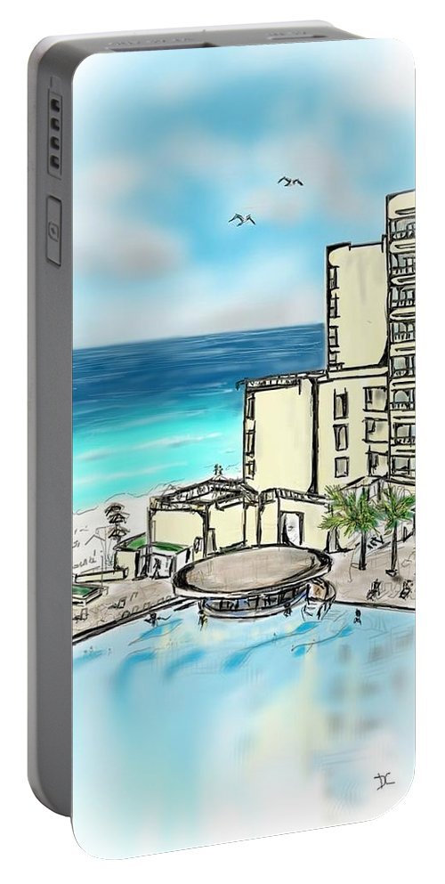 Tropical Portable Battery Charger featuring the digital art Cancun Royal Sands by Darren Cannell