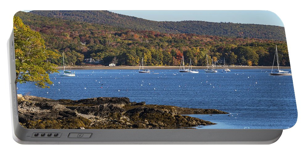 Camden Maine Harbor Harbors Bay Bays Boat Boats Mountain Mountains Tree Trees Fall Foliage Autumn Color Colors Water Landscape Landscapes Waterscape Waterscapes Portable Battery Charger featuring the photograph Candem Harbor by Bob Phillips