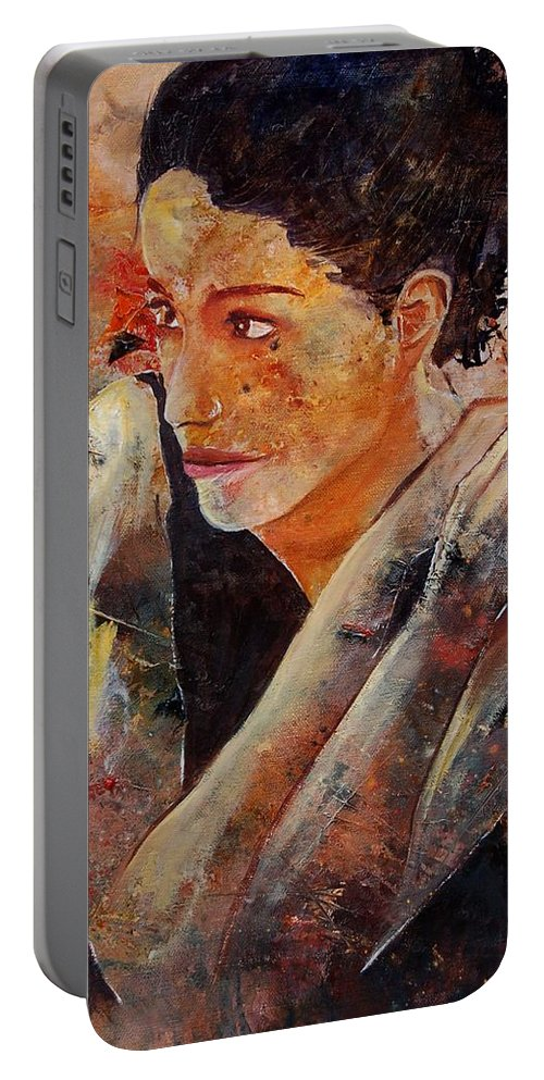 Figurative Portable Battery Charger featuring the painting Candid Eyes by Pol Ledent