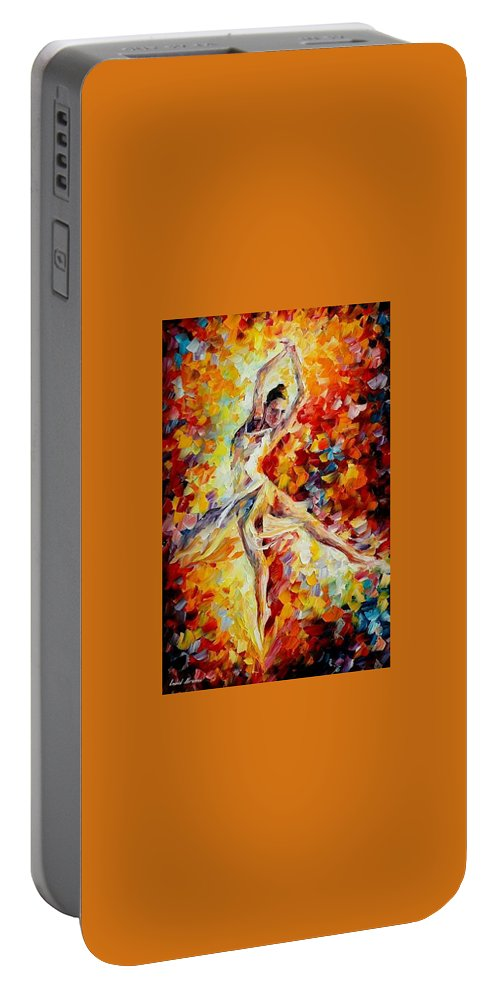 Danse Portable Battery Charger featuring the painting Candle Fire by Leonid Afremov