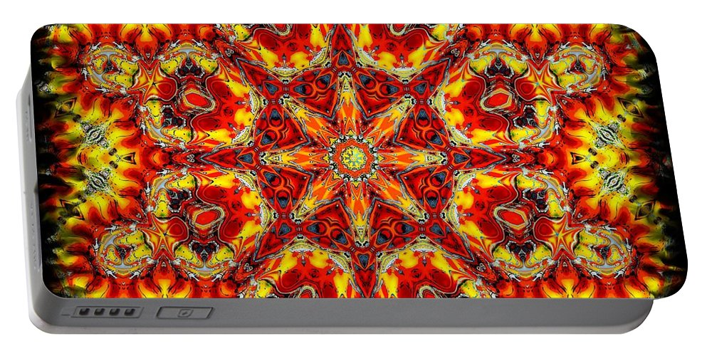 Abstract Portable Battery Charger featuring the digital art Candle Wood by Robert Orinski