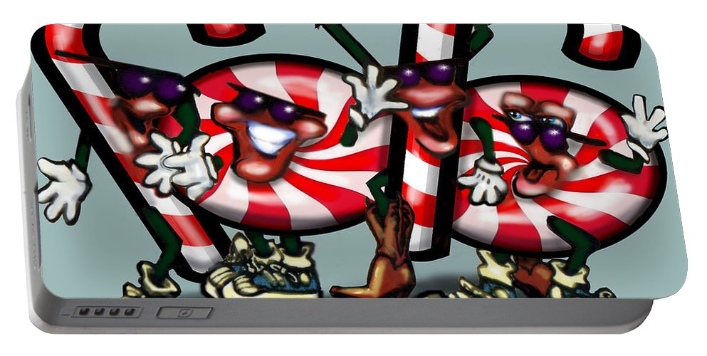 Candy Portable Battery Charger featuring the digital art Candy Cane Gang by Kevin Middleton