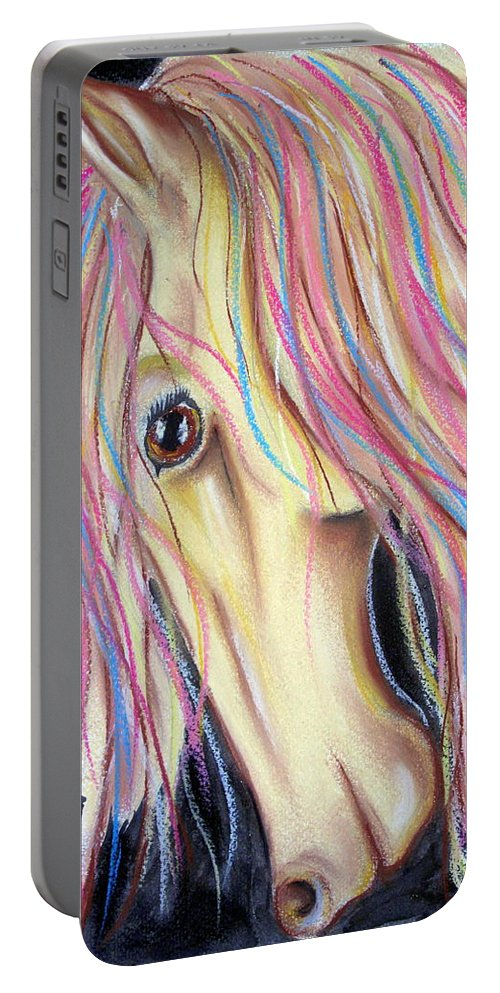 Horse Portable Battery Charger featuring the pastel Candyfloss by Jo Hoden