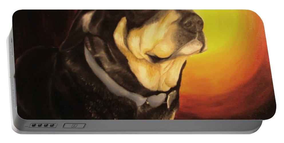 Paintings Portable Battery Charger featuring the painting Canine Vision by Glory Fraulein Wolfe