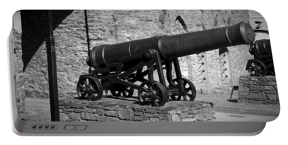 Irish Portable Battery Charger featuring the photograph Cannon At Macroom Castle Ireland by Teresa Mucha