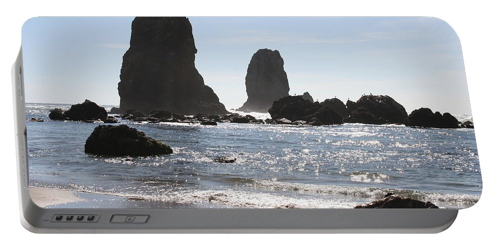 Sea Portable Battery Charger featuring the photograph Cannon Beach II by Quin Sweetman