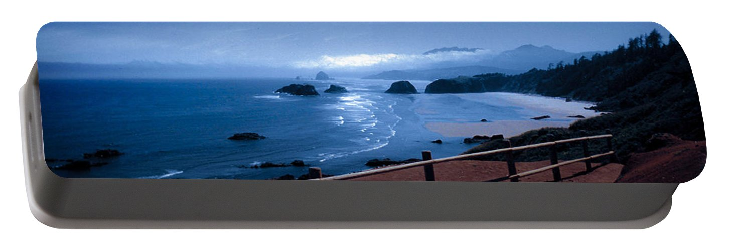 Cannon Beach Portable Battery Charger featuring the photograph Blue Waters On Cannon Beach by Joanne Rungaitis