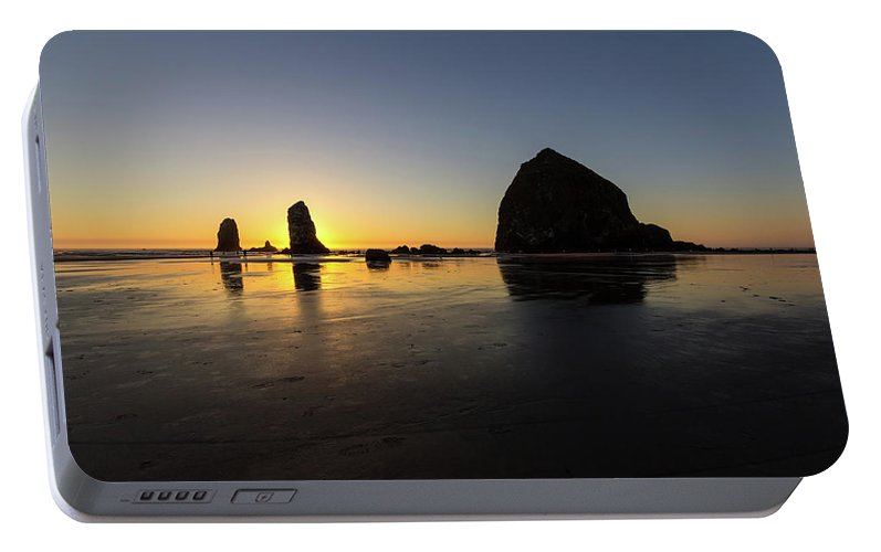 Cannon Portable Battery Charger featuring the photograph Cannon Beach Low Tide Sunset by David Gn
