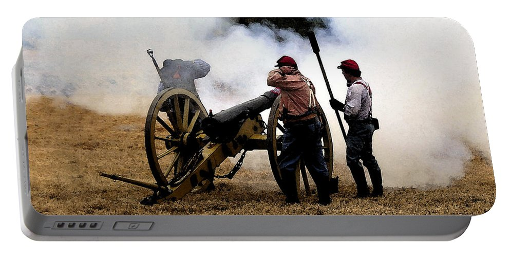 Civil War Portable Battery Charger featuring the painting Cannon Fire by David Lee Thompson