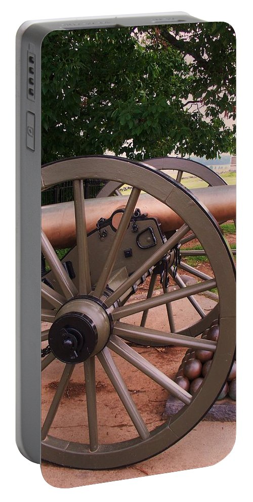 Field Portable Battery Charger featuring the painting Cannon Gettysburg by Eric Schiabor