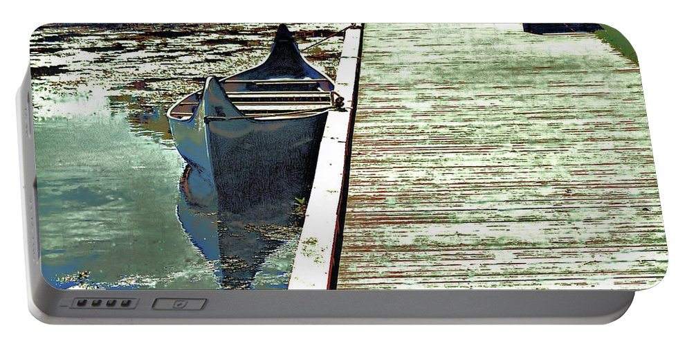 Portable Battery Charger featuring the mixed media Canoe 2 by Barry King