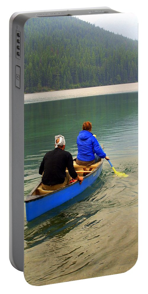 Glacier National Park Portable Battery Charger featuring the photograph Canoeing Glacier Park by Marty Koch