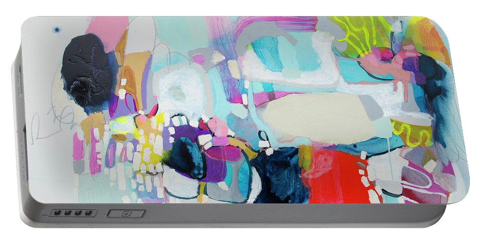 Abstract Portable Battery Charger featuring the painting Can't Wait by Claire Desjardins