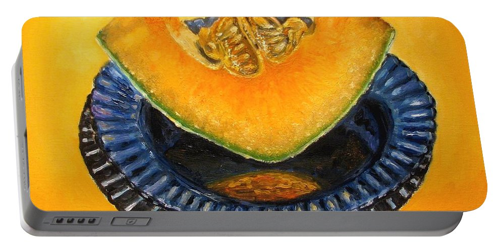 Cantaloupe Portable Battery Charger featuring the painting Cantaloupe Oil Painting by Natalja Picugina