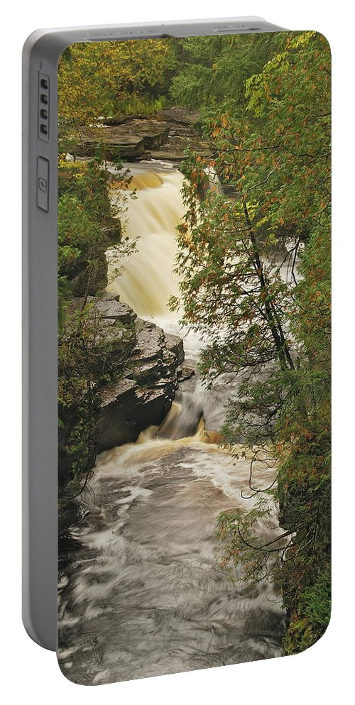 Michigan Portable Battery Charger featuring the photograph Canyon Falls 2 by Michael Peychich