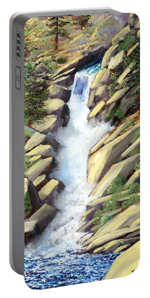 Landscape Portable Battery Charger featuring the painting Canyon Falls by Frank Wilson