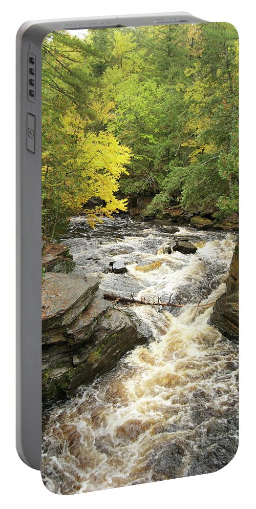 Michigan Portable Battery Charger featuring the photograph Canyon Falls by Michael Peychich