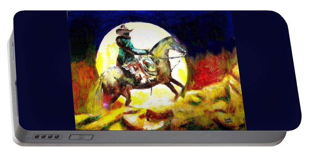 Canyon Moon Portable Battery Charger featuring the painting Canyon Moon by Seth Weaver